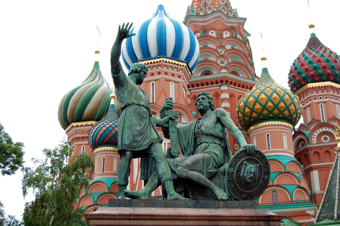 Триколором, картинка с памятником минину и пожарскому